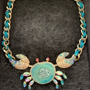 Betsey Johnson Two-Tone Multi-Stone Crab Necklace